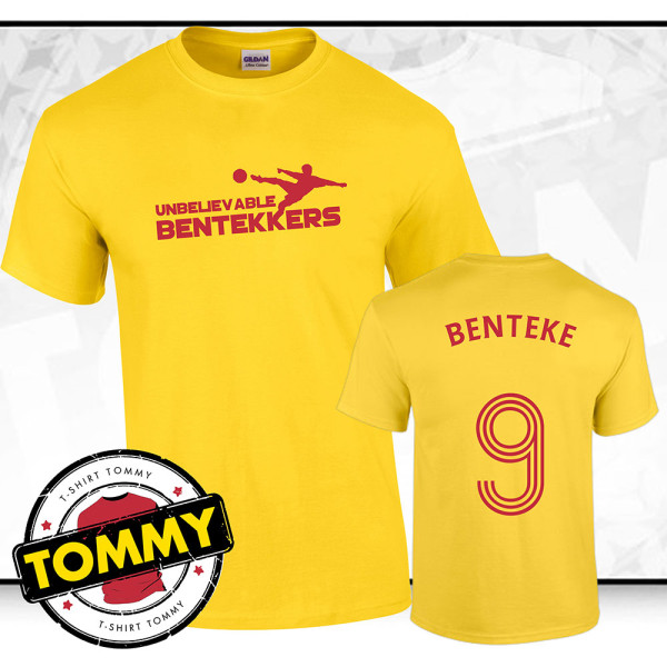 best website 8d9e3 c8fbe 'Unbelievable Bentekkers' Christian Benteke Yellow Liverpool FC T-Shirt